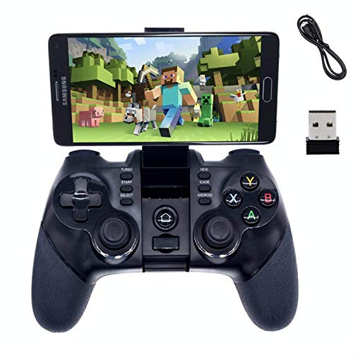 2.4G Wireless Bluetooth Android Game Controller,BRHE Mobile Gaming Controller Wired Gamepad for Android Phone, PS3, Tablet, PC Windows 7/8/10, Samsung Gear VR, SmartTV/TV Box - Black