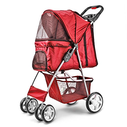 Flexzion Pet Stroller (Red) Dog Cat Small Animals Carrier Cage 4 Wheels Folding Flexible Easy to Carry for Jogger Jogging Walking Travel Up to 30 Pounds with Sun Shade Cup Holder Mesh Window