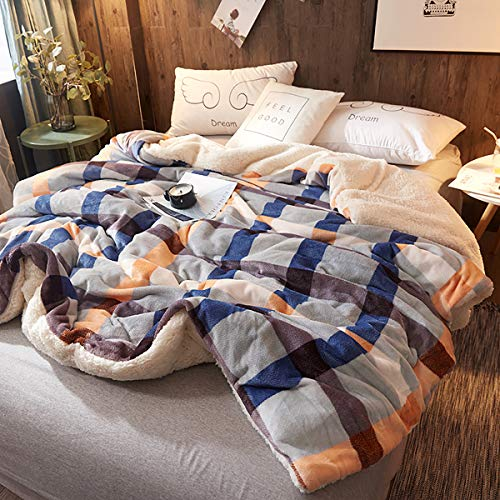 (Uozzi Bedding Sherpa Fleece Blanket Warm Soft Luxurious Toddler Kids Blanket Size Plush TV Fuzzy Microfiber Navy & Gray & Orange Plaid Spring Lightweight Blanket (40x63))