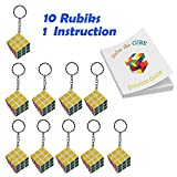 Set Of 10 Mini Rubiks Cube Keychains Party Favors - 3x3 - With Instructions