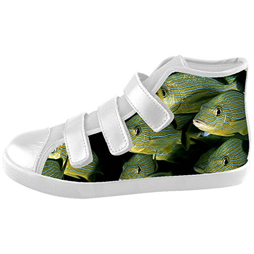 Custom Kid's Shoes Ocean Fish New Velcro High Top Canvas