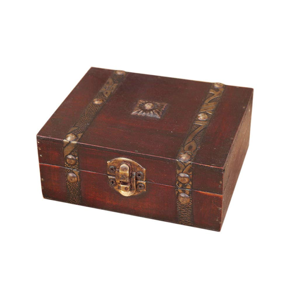 Onegirl Vintage Wooden Case Storage Box Treasure Organizer Metal Lock Decorative Jewelry Storage Photo Collection Wood Gift Box Treasure Cards Collection 13 x 12 x 5.4cm (Brown)