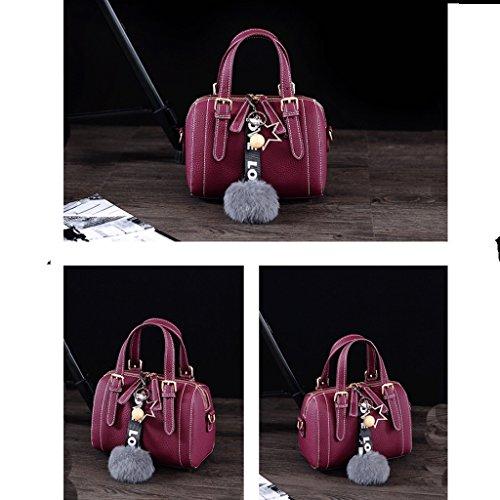 ZHYW Bolsos de mujer bolso de mensajero colgante de felpa bolsa de cuero suave bolso de moda (Color : Rojo) Purple