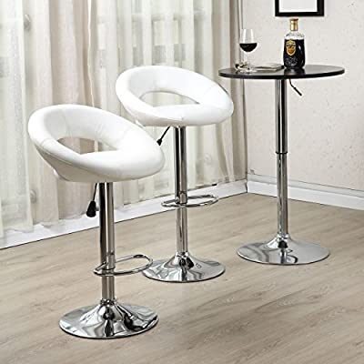 SET of (2) Modern Design Bar Stool Leather Hydraulic Swivel Chair Pub Barstool PU Leather, White