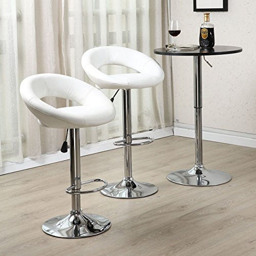 SET of (2) Modern Design Bar Stool Leather Hydraulic Swivel Chair Pub Barstool PU Leather, White (Wicker Bar Stools For Less)