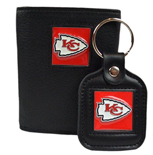 Saffiano Bi Fold (Official National Football League Fan Shop Authentic Genuine Leather NFL Trifold Wallet and Key Chain Bundled Set (Kansas City Chiefs))