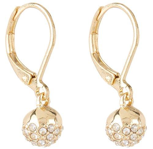 Rhinestone Chaps (Chaps Gold Tone Rhinestone Ball Drop Earrings One Size Gold tone)
