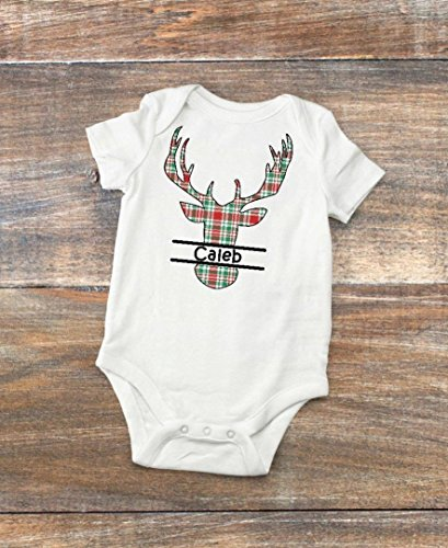 Baby Bodysuit = Personalized Newborn Christmas Shirt - Red and Green Plaid Deer Silhouette Infant Bodysuit