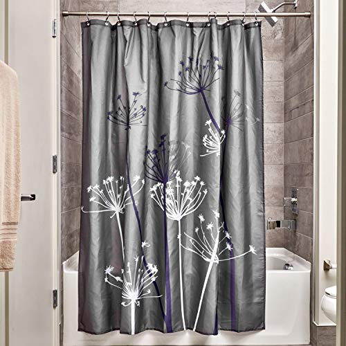 InterDesign Thistle Fabric Shower, Modern Mildew-Resistant Bath Curtain for Master, Kid's, Guest Bathroom, Standard Gray and ()
