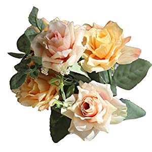 Litetao 2017 Fashion Artificial Silk Fake Flowers Roses Floral Decor For Home Party Decor/Outdoor/Festival Gift/Garden Wall Decoration/Bridal Bouquet Wedding Party Home Decoration (E) 83