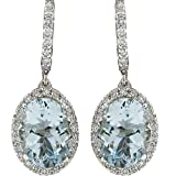 WaiiMak Fashion Women Aquamarine Gemstone Bridal Ear Stud Hoop Dangle Earring (Multicolor)