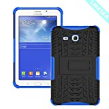 LIKESEA Tread Pattern Case for Samsung Galaxy Tab 3 Lite 7.0, Premium Stand Cases Double Protective Cover with Kickstand, Shock-Absorption and Anti-Scratch, Blue