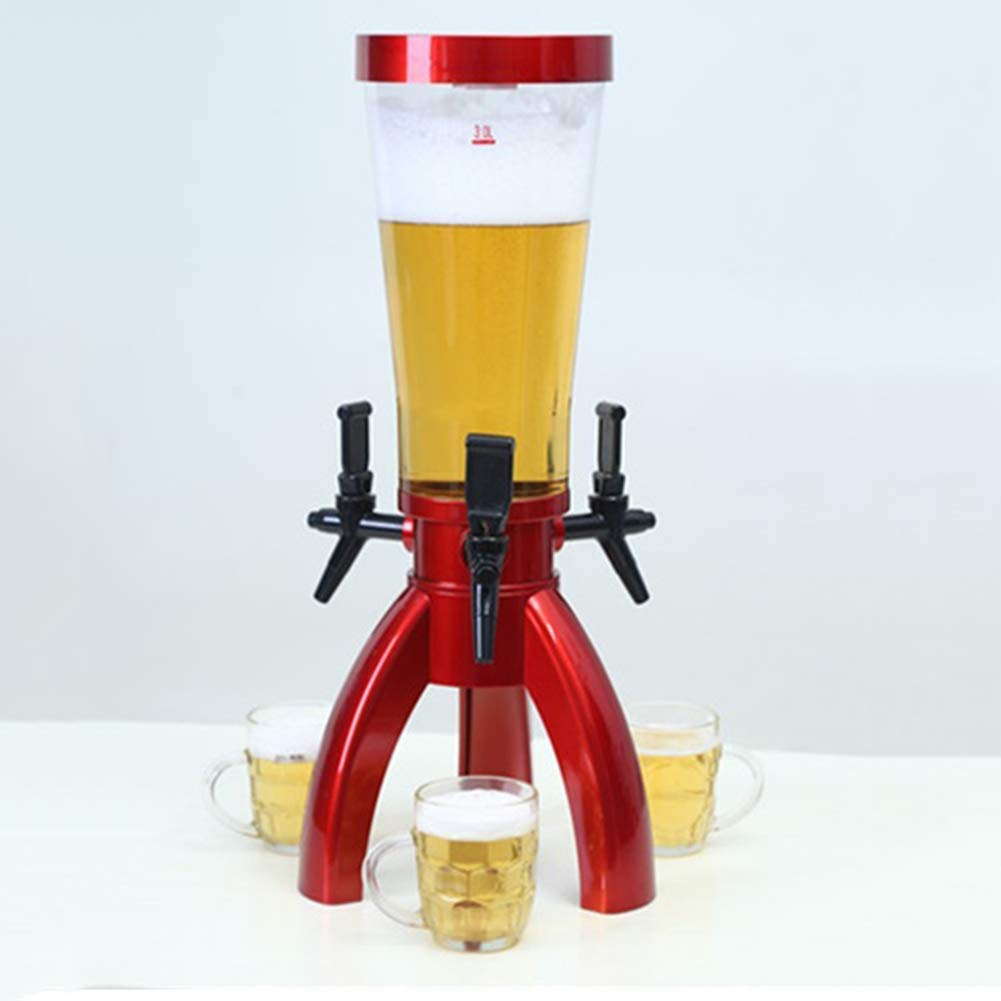 102 oz Beer Tower con Ice Core e 3 rubinetti per Feste e Barbecue,Rosso ZYRAY Distributore di Bevande Beer Tower 3L