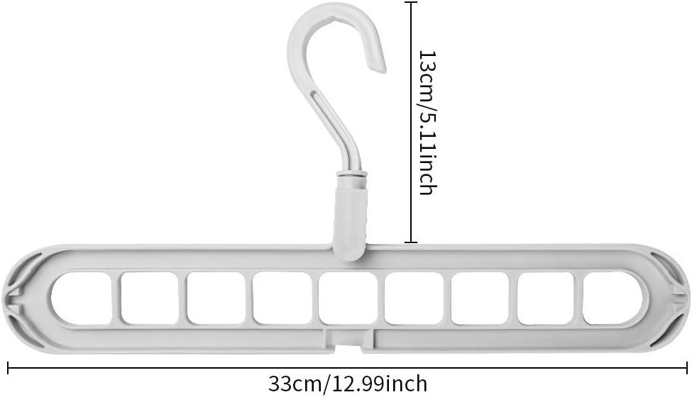 Uponer 10 Piezas Organizador de Ropa Ahorrar Espacio Perchas Ropa Plegable con 9 Agujeros Multiples Perchas est/ándar giratoria de 360 /° Armario Giratorio para Secado y Almacenamiento