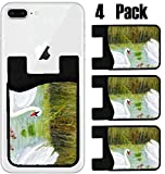 imag ii - MSD Phone Card holder, sleeve/wallet for iPhone Samsung Android and all smartphones with removable microfiber screen cleaner Silicone card Caddy(4 Pack) Two swans with their little ones in a lake IMAG