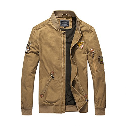 Microfiber Stadium Jacket (H.T.Niao Jacket9930C3 Men 's Fashion Cold Casual Military Jackets(Khaki,Size XXL))