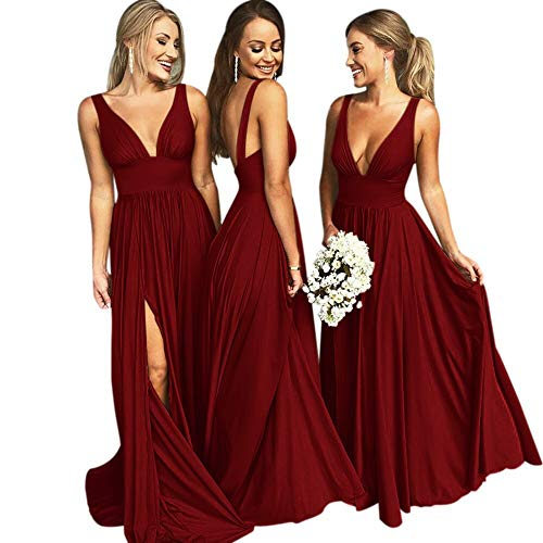 MARSEN Bridesmaid Dress V Neck Backless 2018 Women Formal Empire Waist Prom Gown Silt Burgundy Size ()