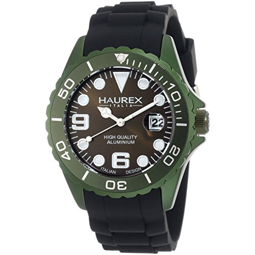 Haurex Italy Men's 1K374UVV Ink Khaki Green Rubber Band Aluminum Dial Watch by Haurex