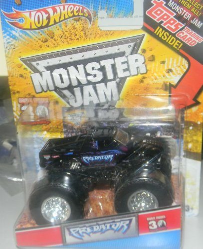 Hot Wheels 2010 1/64 Monster JAM Grave Digger 30th Anniversary with Topps Card Collectible Inside Predator Monster Truck (Hot Wheels Monster Jam Grave Digger 30th Anniversary)