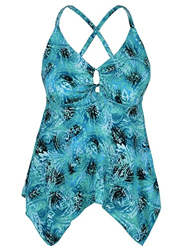 Mycoco Women's Tummy Control Front Tie Swim Top Cross Back Tankini Top Flowy Swimdress Swirl Green - Cross Tie Front