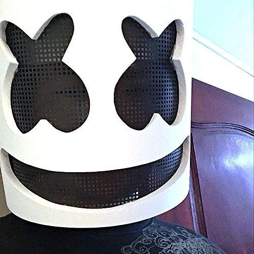 Dj Halloween Costume (DJ Marshmello Mask Cosplay Costume Accessory Helmet for Halloween Party Props)