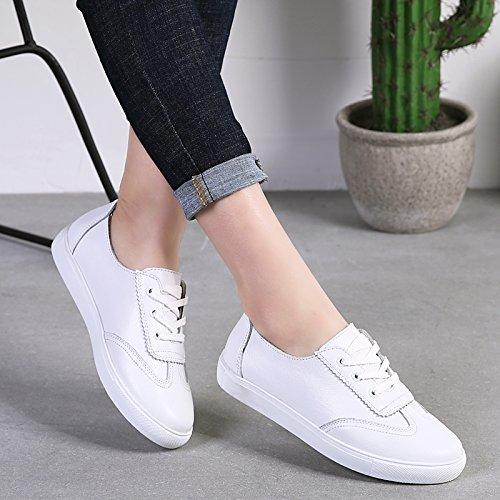 Zapatos Superficial Otoño Hembra Plano Casual AJUNR Fondo de la Solo white Salvaje Transpirable Velcro Sandalias Moda Elegante Zapata zSqaqAP