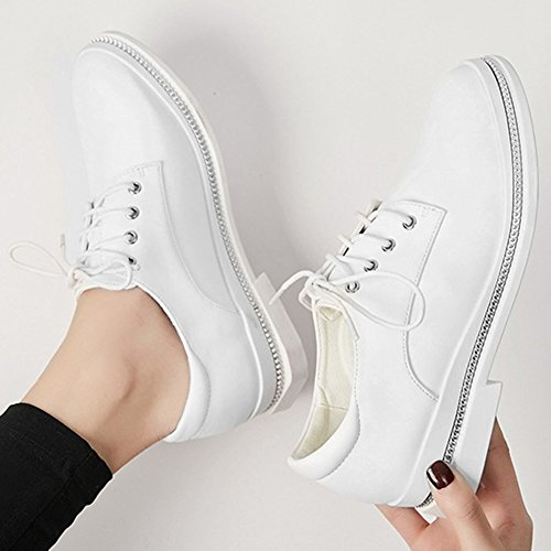 T up White Round JULY Shoes Casual Lace Western Women's Oxfords Flat Comfortable Shoes Toe ffwrqp