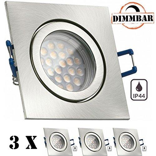 3er IP44 LED Einbaustrahler Set Silber gebürstet mit LED GU10 Markenstrahler von LEDANDO - 5W DIMMBAR - warmweiss - 60° Abstrahlwinkel - Feuchtraum   Badezimmer - 50W Ersatz - A+ - LED Spot 5 Watt - eckig
