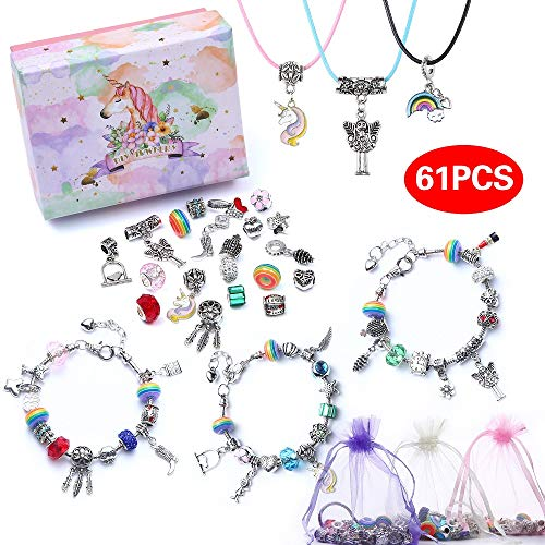 DIY Charm Bracelet Making Kit, Jewelry Making Kit Charms Bracelets for Making DIY Jewelry Advent Calendar Party Favor Craft Birthday Gifts for Teens Girls