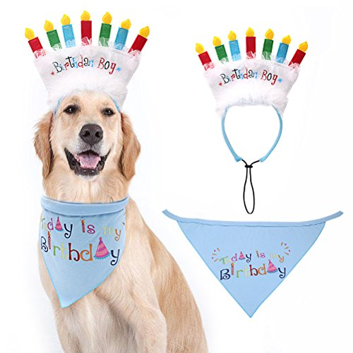 Dog Birthday Bandana with Birthday Candle Headband – Pet Birthday Gift Decorations Set, Soft Scarf & Adorable Hat for Party Accessory