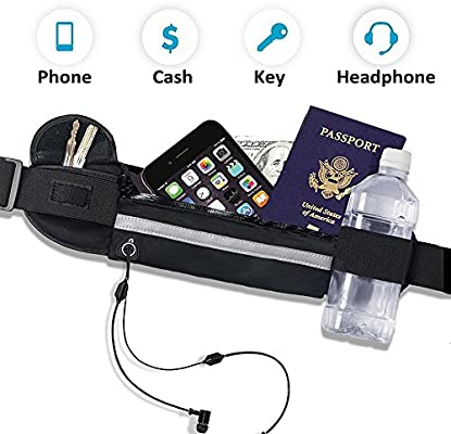 Running Belt Waist Pack,Water Resistant Fanny Pack with Headphone Pinhole,Light Weight Hip Bum Bag for Exercise,Cycling,Hiking,Running,Jogging,Traveling,The Holder Case for iPhone//Android Cell Phone smartkadely