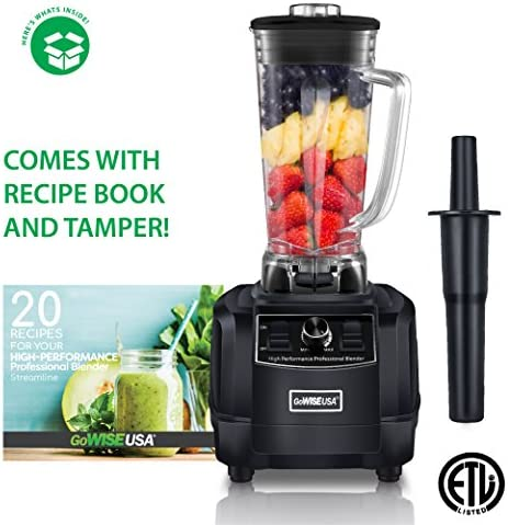 GoWISE USA GW22503 Streamline High-Performance 2 Horse Power Professional 67-Ounce Pitcher and Tamper 20 Blender Recipe Book 1450W, BLACK