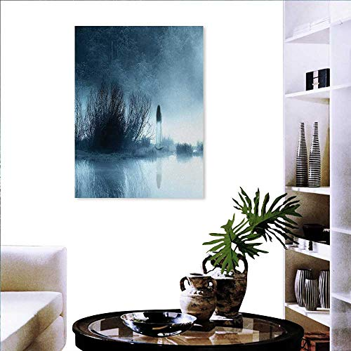 Anniutwo Horror House Print Mint Canvas Wall Art Mysterious Women in Foggy Forest Bushes Nightmare Haze Lady Scary Hell Work of Art Wall Sticker Yellow Flowers 32