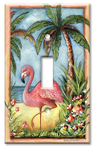 Flamingo Switchplate - Art Plates - Single Gang Toggle OVERSIZE Switch Plate/OVER SIZE Wall Plate - Flamingo