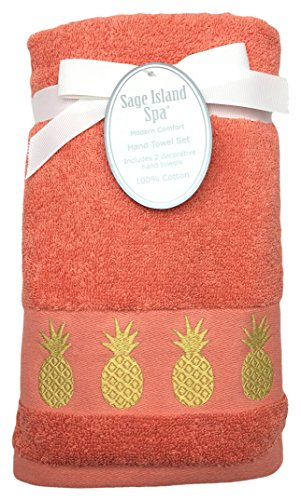 Sage Island Spa Embroidered Pineapple Light Coral Hand Towel Set