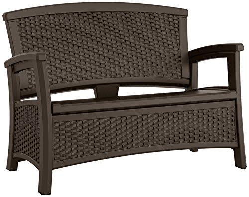 Suncast Elements Loveseat with Storage - Lightweight, Resin, All-Weather Outdoor Loveseat Chair - Wicker Patio Decor with Built in Storage Capacity up to 23 Gallons - Java (Storage Elements Bench Suncast Wicker)