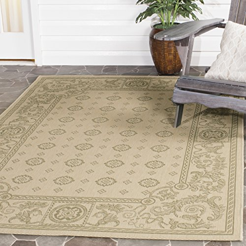 Safavieh Courtyard Collection CY1356-1E01 Natural and Olive Indoor/ Outdoor Area Rug (4' x 5'7