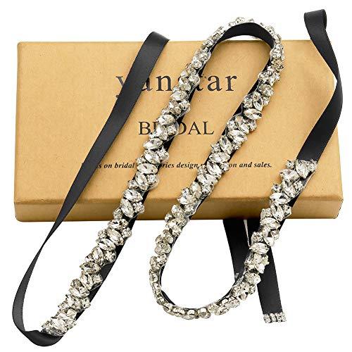 Yanstar Silver Rhinestone Wedding Belt Bridal Belt Sashes with Black Ribbon for Prom Bridesmaid Dress