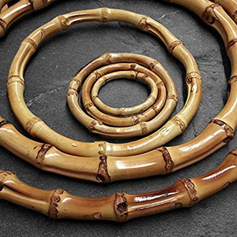 5.12inch, Burnt Exttlliy 2PCS Bamboo Handmade Handbag Handles Natural Crafting Purse Handbag Handles Rings