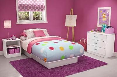 Libra Twin Platform 3 Piece Bedroom Set in Pure White