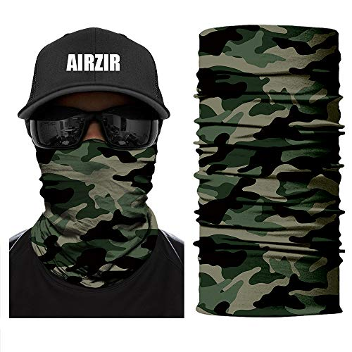 Airzir Camo Outdoor Face Mask, Breathable Seamless Tube Dust-proof Windproof UV Protection Motorcycle Bicycle ATV Face Mask for Motorcycling Cycling Hiking Camping Climbing Fishing Hunting (Tcamo-010)