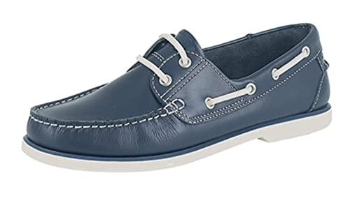 Brand New Mens Boys Leather Boat Shoes. Brown Or Blue Smooth Leather. White  Soles 9137d4bf7