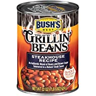 BUSH'S BEST Canned Steakhouse Recipe Grillin' Beans, Source of Plant Based Protein and Fiber, Low Fat, Gluten Free, 22 oz