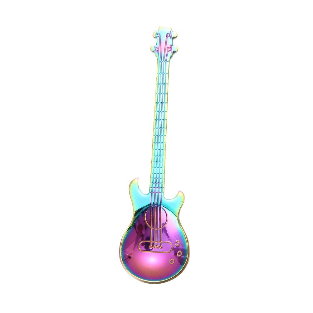 Acier Inoxydable 304 11.7 x 3cm Noir SMARTrich Cuill/ère /à caf/é en Acier Inoxydable 304/Guitare Forme Glace Candy Cuill/ère /à caf/é de Cuisine Vaisselle Fournitures