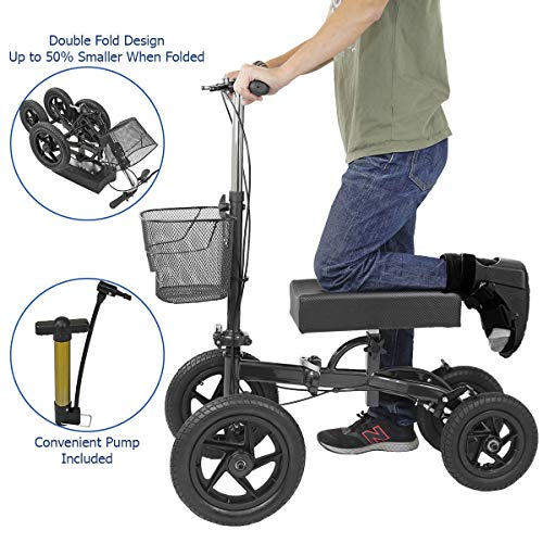 Clevr Quad All Terrain Foldable Medical Steerable Knee Walker Scooter, Black, Walking Aid Roller for Foot Injuries, Height Adjustable Crutch Alternative, Deluxe Brake System & Basket