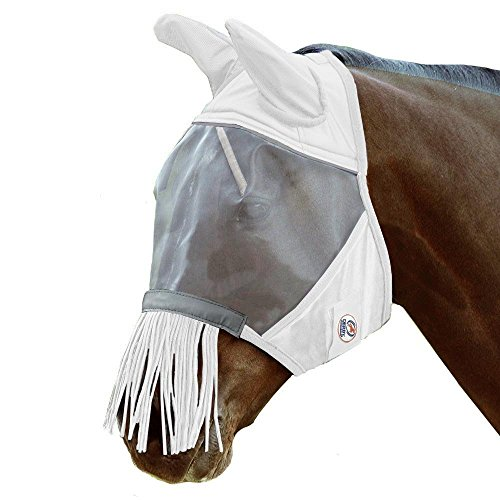 Derby Originals Reflective Trim Fly Mask with Ears & Fringes & One Year Warranty - Mini, Pony, Full, Oversize & Five Appealing Colors by Derby Originals