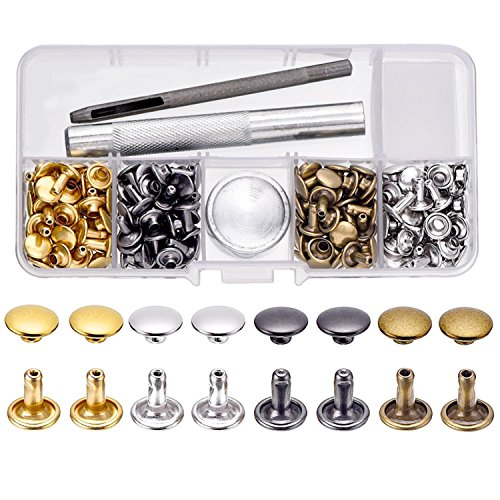 BBTO 100 Set Leather Rivets Double Cap Rivets with Fixing Tool Kit for Leather Craft Repairing Decoration, 4 Color