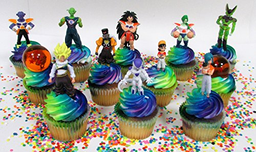 """Dragon Ball Z Cupcake Topper Featuring Dragon Ball Z Figures and Two 1"""" Crystal Wish Ball"""