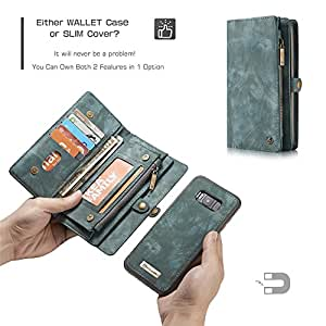 Galaxy S8 Wallet Case, Esing Premium Folio Zipper Purse Leather Cover Cases for Samsung S8 Detachable Magnetic Case with Flip Credit Card Slots Stand Holder(Blue)