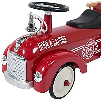 Best Choice Products Ride On Fire Truck Speedster Metal Car Kids Outdoor: Toys & Games